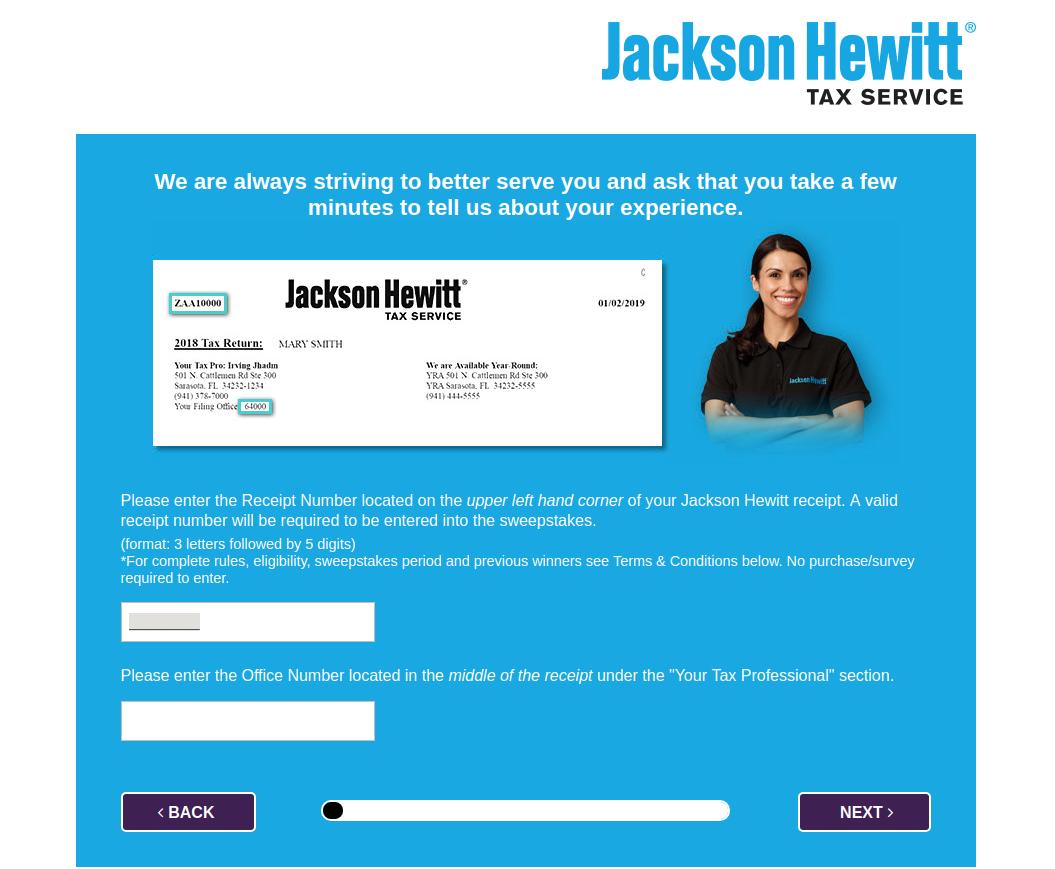 Jakson Hewitt Feedback Survey