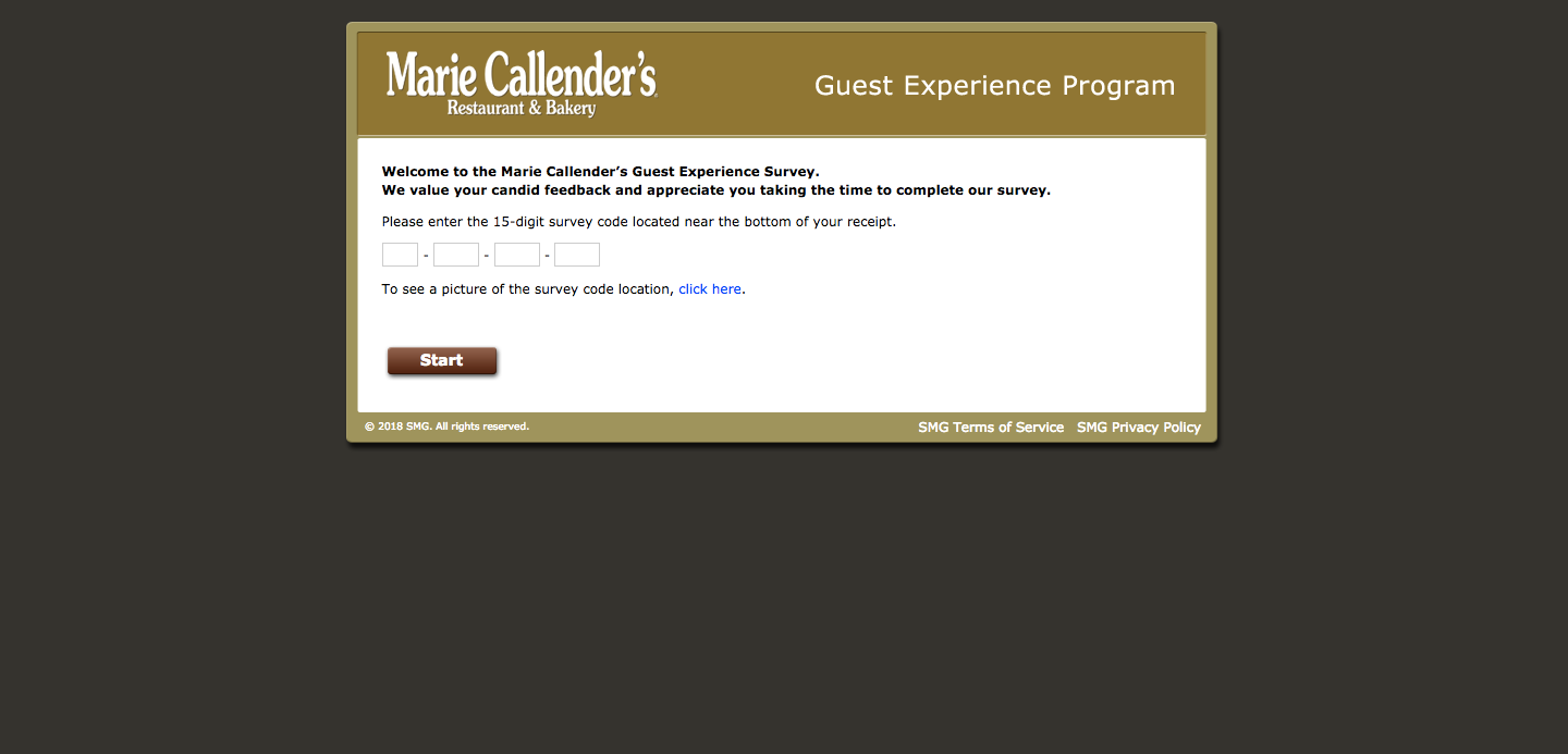 Marie Callender's Guest Experience Survey