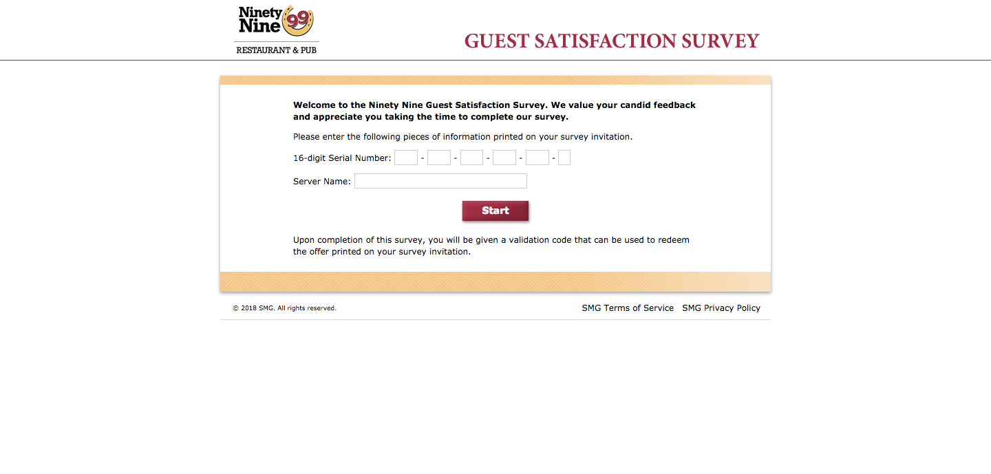 Ninety Nine Restaurant & Pub Guest Experience Survey
