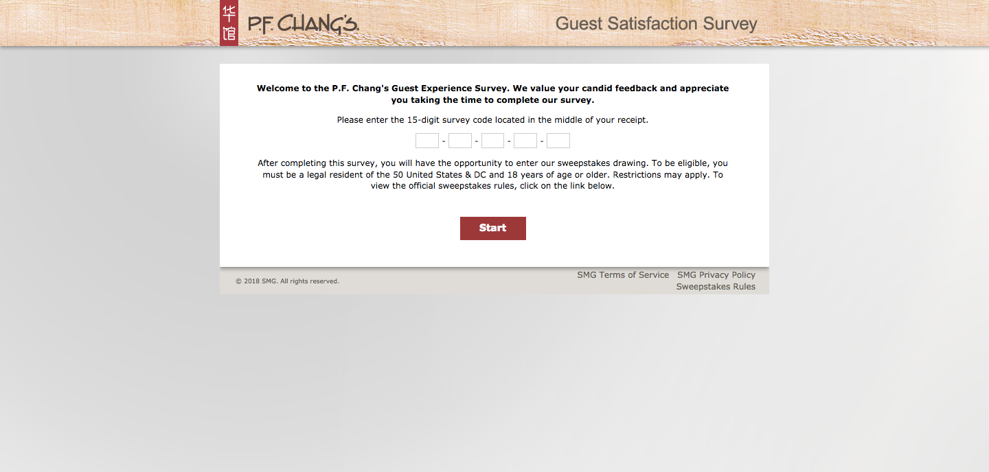 P.F. Chang's Guest Experience Survey