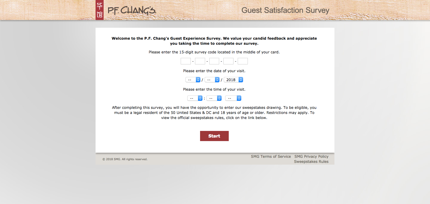 P.F. Chang's Guest Feedback Survey