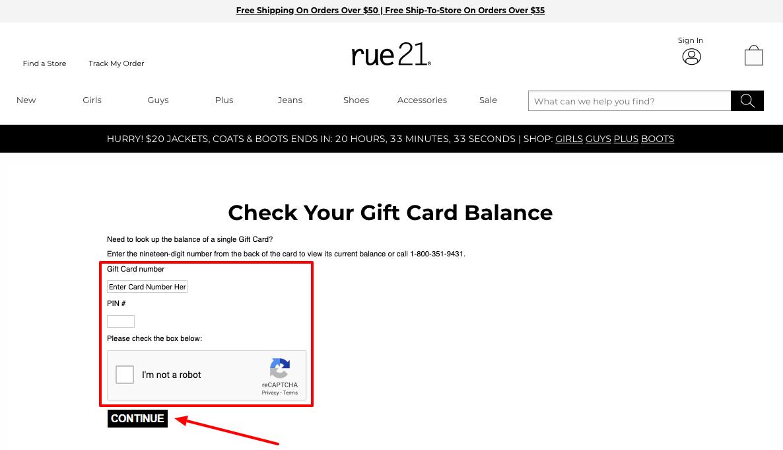 rue21 gift card balance